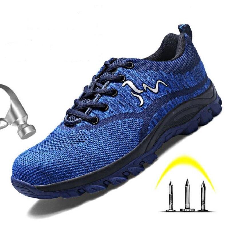 Com Homem Segurança Para Malha Homens Up De Ankle Biqueira Respirável À cinza Lace Trabalho vermelho O Sapatos Ocasional Shoes Preto Indestrutível Prova Amshca Aço azul 46 Punção Boot wTXIHT