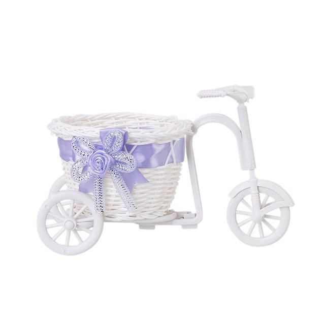 Triciclo cesta de Flores Cesta De Vime para Vaso de Flores e Decoração De Armazenamento Presente-Branco Roxo