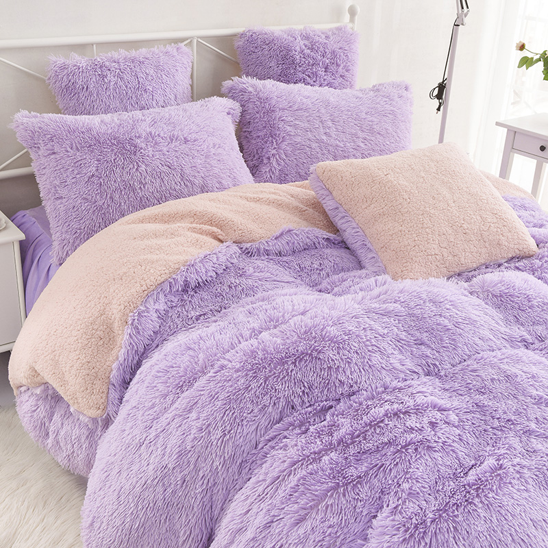 Super Warm Bed Set Plush Velvet Bedding Set 3/4pcs Lamb Cashmere Queen King Size Duvet Cover Bedspread Pillowcase for Winter