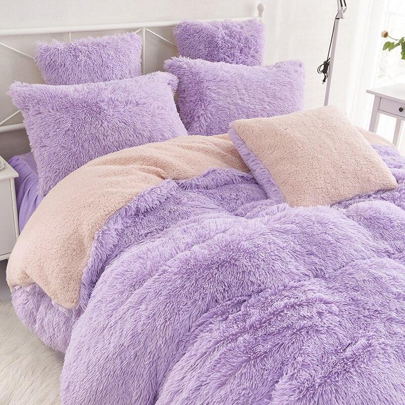 Super ciepłe łóżko – zestaw pluszowe aksamitna pościel zestaw 3/4 sztuk Lamb Cashmere królowa poszwa na kołdrę w rozmiarze king narzuta poszewka na poduszkę na zimę w Zestawy pościeli od Dom i ogród na  Grupa 1