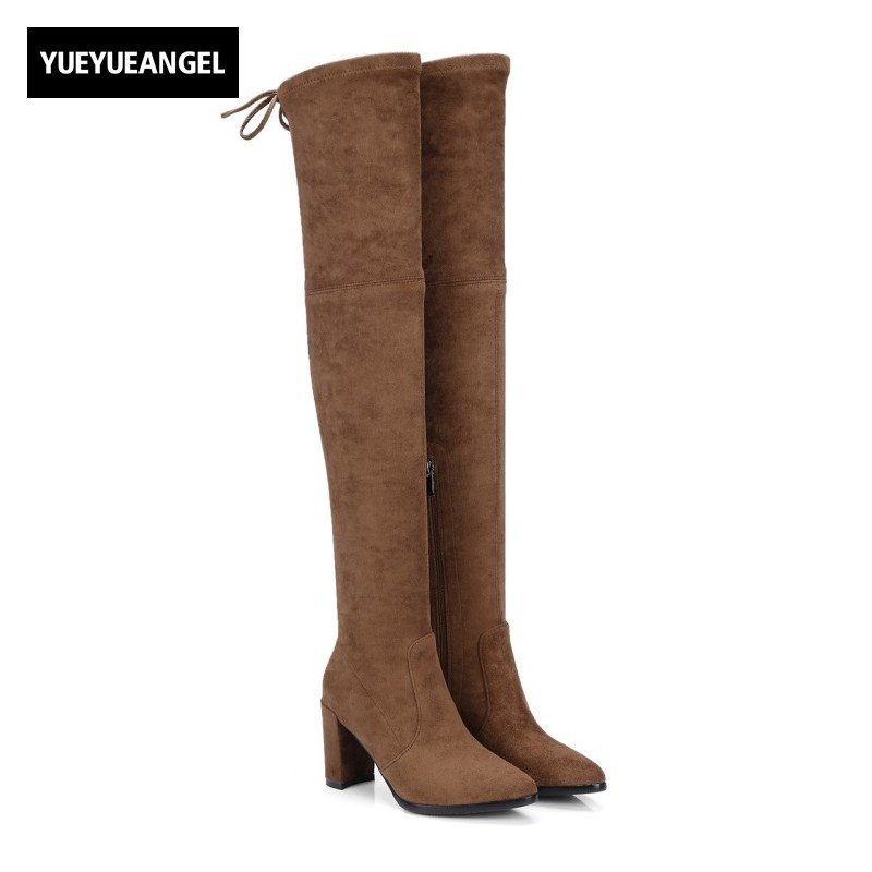 Womens Sexy Slim Stretchy Thigh High Boots Sheepskin Genuine Leather Suede Over The Knee Botas Pointed Toe High Heel Lady Shoes