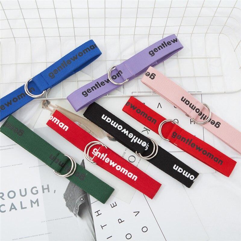 2018 cinturones de lona Unisex letras impresas D anillo hebilla doble estudiante cinturón cinturones de moda 130 cm