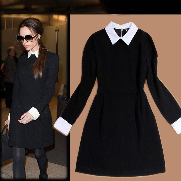 Zeer Dames mode jurk wit beurt down kraag lange mouw zwart slim fit #JW86
