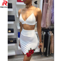 Reaqka Sexy Club Party Dresses Bodycon Dress Women 2 Two Pieces White Embroidered Rose Backless Spaghetti Stripe Cami Dress 2018