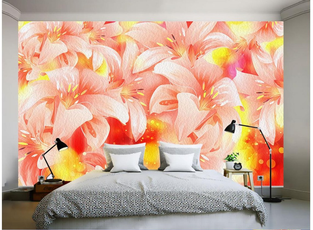 Us 13 1 50 Off 3d Wallpaper Custom 3d Wall Murals Wallpaper Flower Mural Dazzle Colour Flame Lily Adornment Wall Mural Background Wallpaper In