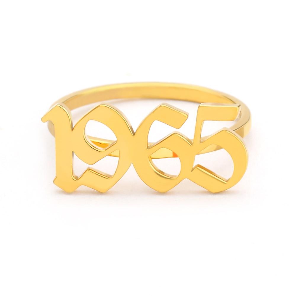 d48fce76fe05 ICFTZWE oro plata personalizado nombre antiguo inglés Número anillos para  Mujeres Hombres dedo del pie anillo Bague Femme Anel regalo de cumpleaños  BFF