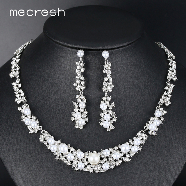 Mecresh Simple Silver Color Simulated Pearl Bridal Jewelry Sets Fashion Indian Wedding Necklace Earrings
