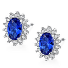 1.5ct Oval Blue Sapphire Stud Earrings For Women 925 Sterling Silver Fashion Princess Diana Engagement Wedding Accessories