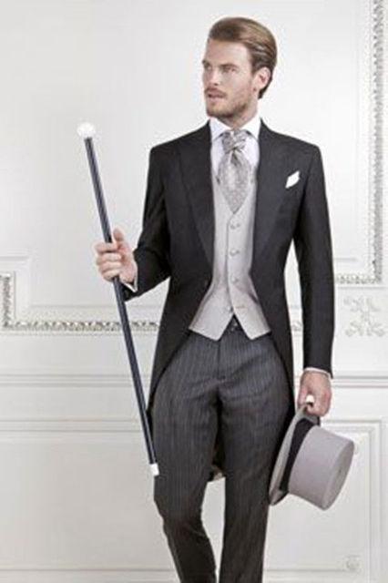 Chegada nova Custom Made Formal dos homens Ternos Da Manhã Um Botão Jaqueta Preta Com Listras Brancas Calças Terno Formal Do Casamento