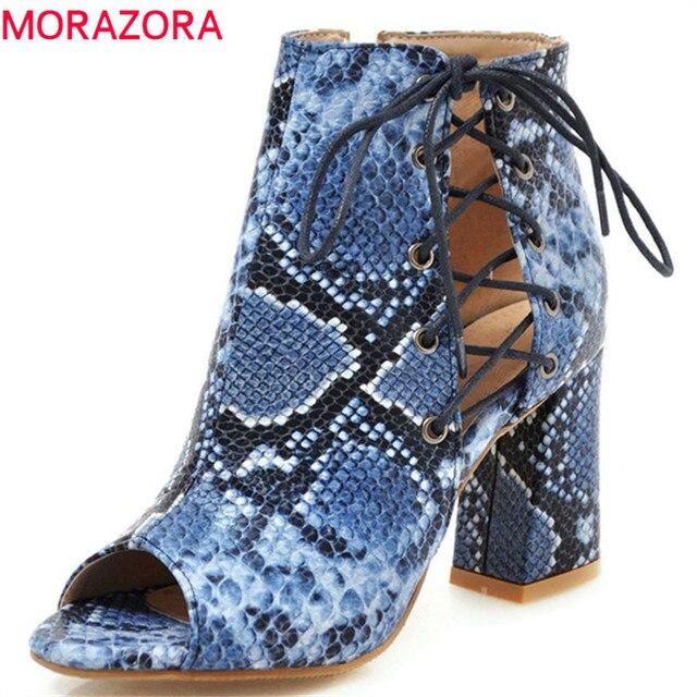 MORAZORA 2019 ใหม่มาถึงฤดูร้อนรองเท้า Peep Toe รองเท้าส้นสูงรองเท้า Lace Up + ซิปแฟชั่นรองเท้าผู้หญิงข้อเท้าสบายรองเท้าผู้หญิง