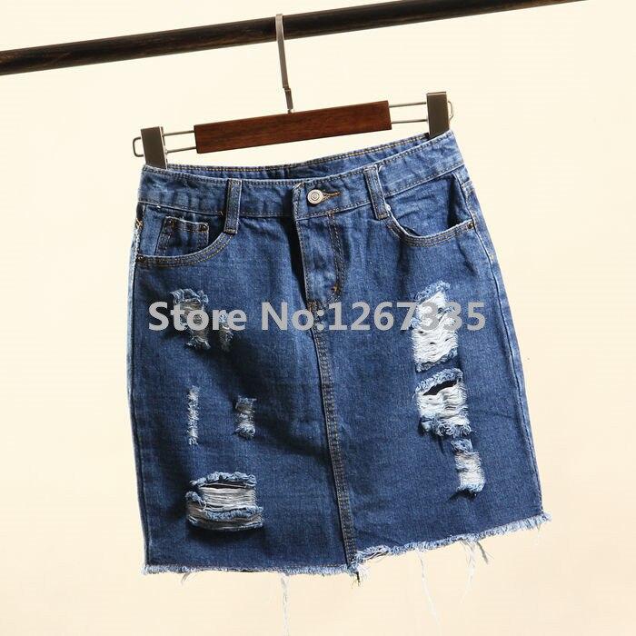 Летняя новинка, Модные женские повседневные потертые юбки с высокой талией, рваные джинсовые юбки, короткие юбки для женщин - Цвет: Синий
