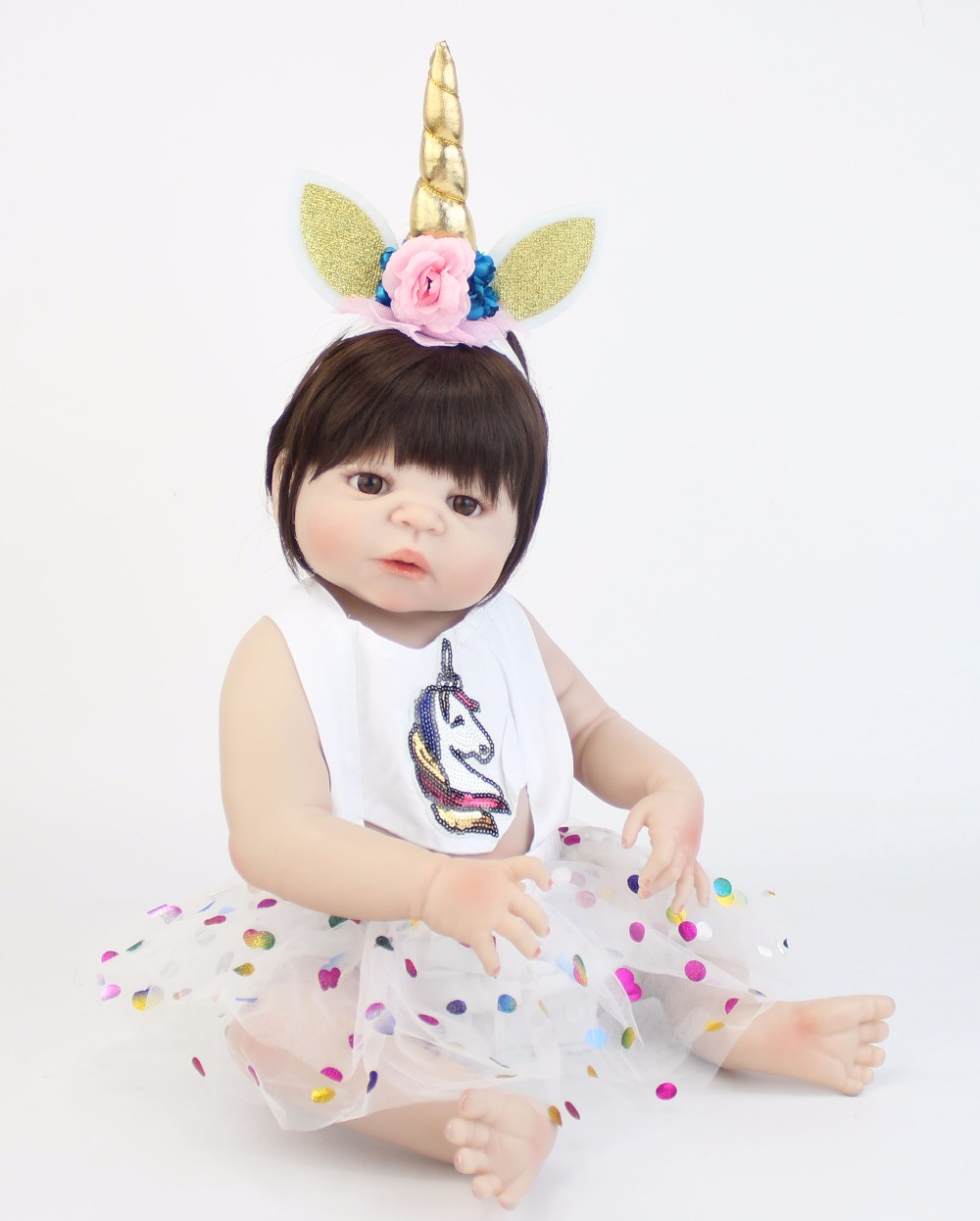 55cm Full Silicone Reborn Baby Doll Toy Soft Vinyl Newborn Princess Babies Girl Bonecas Bebe Alive Bathe Toy Cute Birthday Gift 55cm victoria soft vinyl reborn baby dolls in pink dress 22 inch full vinyl newborn bebe reborn doll princess girl birthday gift