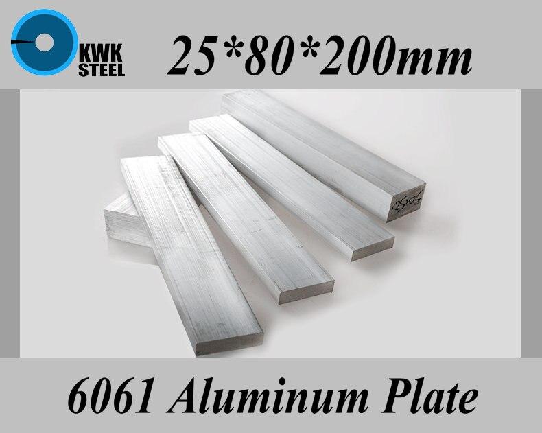 25*80*200mm alliage d'aluminium 6061 plaque feuille d'aluminium bricolage matériel livraison gratuite
