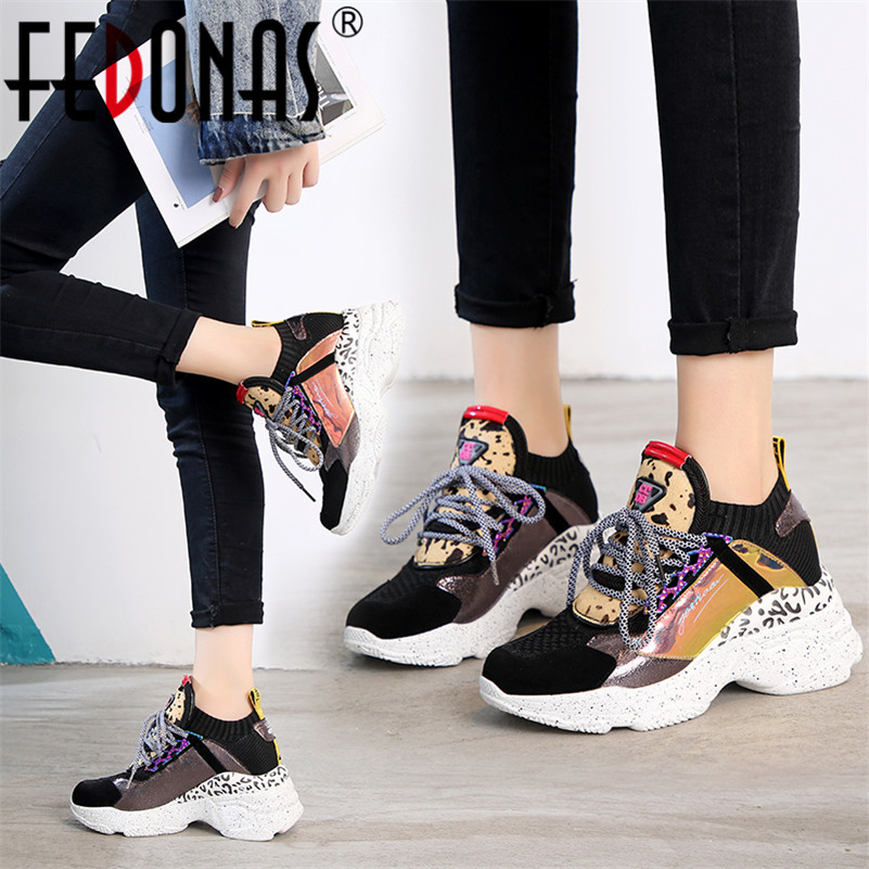 FEDONAS 2019 Fashion Women Genuine Leather Flats Platforms Sneakers Lace Up Spring Summer Sport Shoes Woman