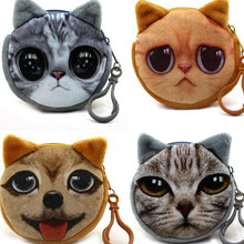 M008 2017 New Mini 3D Cat Plush Coin Purse Animals Prints Zipper Wallets Harajuku Children Bag