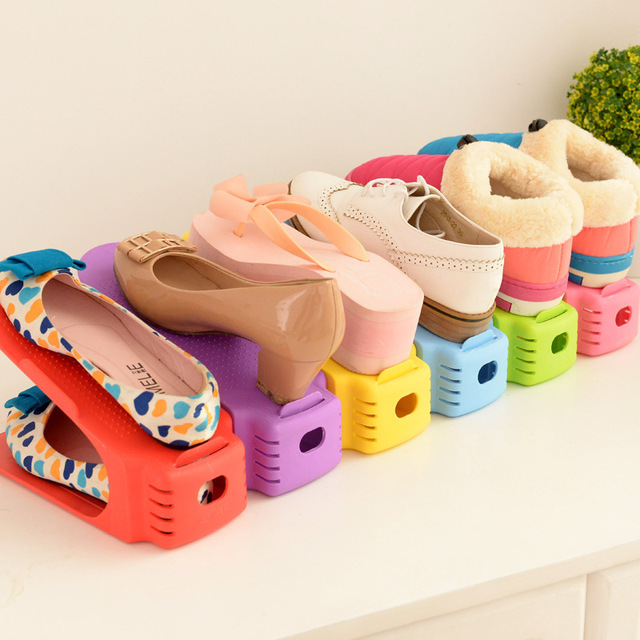 Durable Plastic Shoe Organizer Detached Double-Wide Shoe Storage Rack  Modern Double Cleaning Storage Shoes Rack Stand Shelf c66295110b23