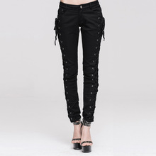 2016 Punk Gothic Strap Cotton Pants Casual Women Pants Solid Button Fly Leggings HOT MODEL Punk Style Trousers