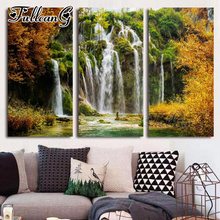 FULLCANG 3pcs diy diamond embroidery natural scenery waterfall triptych painting full square/round drill mosaic pattern FC1027