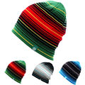 Unisex Men Women Skiing Hats Warm Winter Knitting Skating Skull Cap Hat Beanies Turtleneck Caps Striped Ski Cap Snowboard