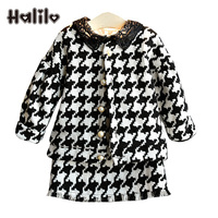 Halilo Girls Boutique Outfits Autumn Winter Coat Skirt 2pcs Toddler Girl Outfits Kids Clothes Thanksgiving Children Clothing Set