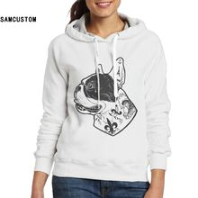 SAMCUSTOM Ladies Hoodies and No pockets Sweatshirts New style France Bulldog 3D print Fashion hoodie