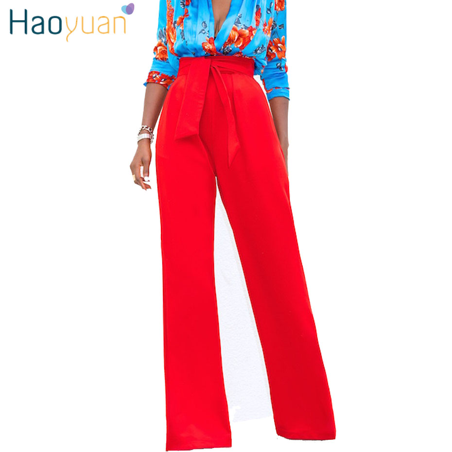 HAOYUAN High Waist   Wide     Leg     Pants   Women 2018 Summer Autumn Loose   Pants   Black Red White Yellow Trousers Casual Bell Bottom   Pants