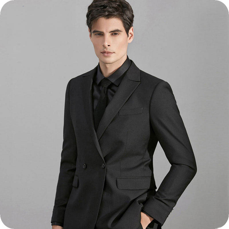 Men Suit for wedding business double breasted peaked lapel (23)