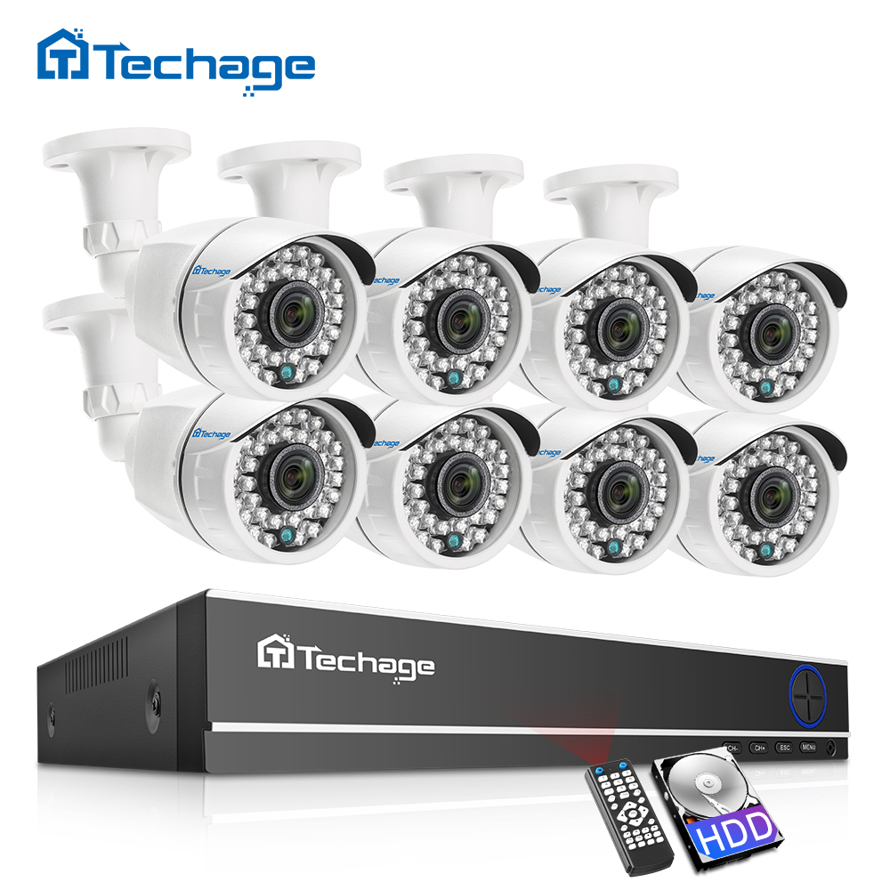 Techage 8CH 1080P HD DVR Kit CCTV Security System 8PCS 2MP IR Outdoor Waterproof AHD Camera P2P Video Surveillance Set 2TB HDD