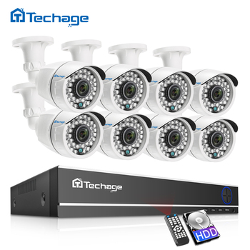 Techage 8CH 1080P HD DVR Kit CCTV Security System 8PCS 2MP IR Outdoor Waterproof AHD Camera P2P Video Surveillance Set 2TB HDD