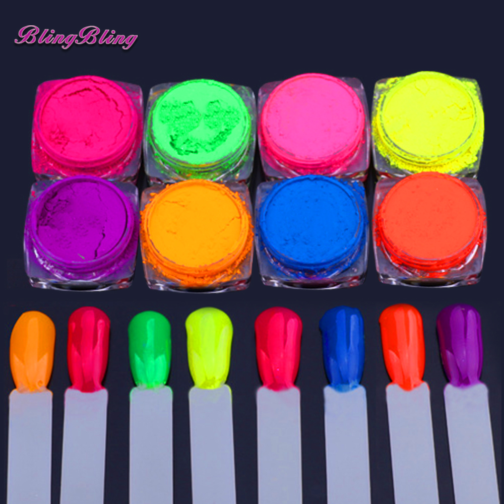 8 Boxes Neon Pigment Nail Powder Dust Ombre Nail Glitter
