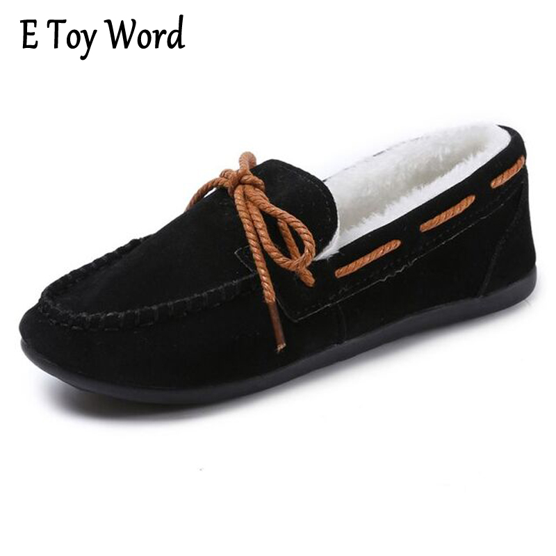 E TOY WORD Casual Women Shoes Winter Section Plus Velvet Flats Women Moccasin Shoes Women's Loafers Ladies Doug Shoes ST668 e toy word canvas shoes women han edition 2017 spring cowboy increased thick soles casual shoes female side zip jeans blue 35 40