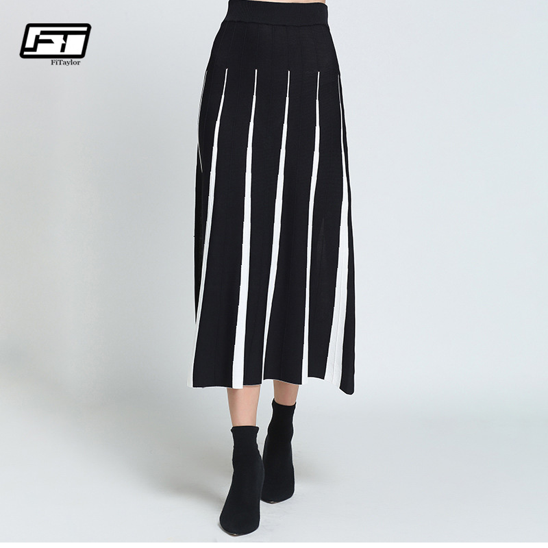 Invierno Otoño Alta Tiras black Fitaylor Negro White Cintura A line Blanco Faldas Falda Mujeres Strips Black Elegancia BRU5qfw