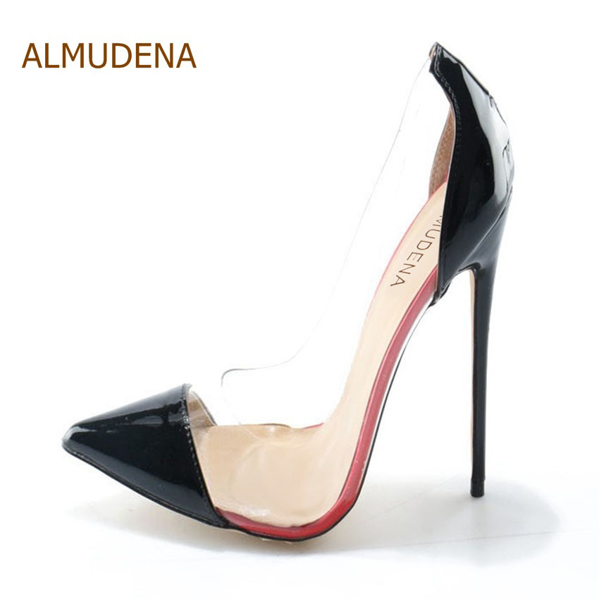 ALMUDENA Real Photo Cost Pirce Stiletto Heel Pumps Black Patent Leather Transparent PVC Patchwork Dress Shoes Pointed Toe Pumps