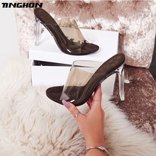 TINGHON New PVC Jelly Sandals Crystal Open Toed Sexy Thin Heels Women Transparent Heel Slippers Pumps