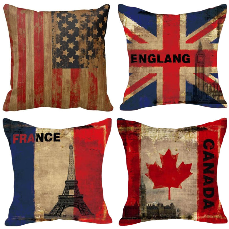 Flag Cushion Cover Cotton Linen Vintage Eiffel Tower Statue of Liberty Pattern Pillowcase 45x45cm Pillow Cover Home Living