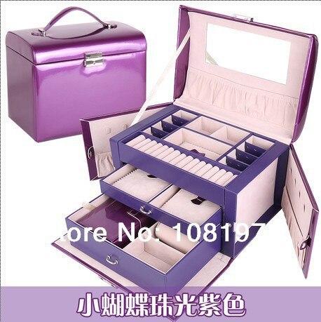 luxury fashion leather purple jewelry box jewelry