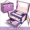 Luxury  fashion leather purple Jewelry box , Jewelry Carrying Cases Jewelry Displays necklaces & pendants watch gift box casket
