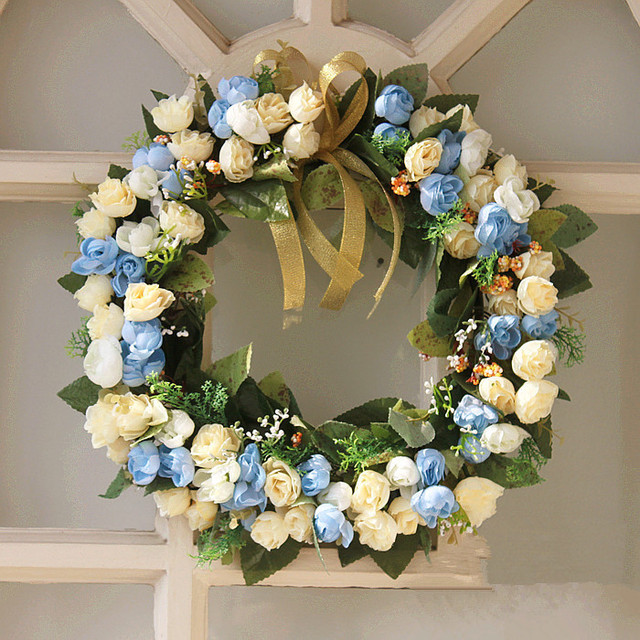 35cm artificial rose garland door decoration wedding flower home decor wedding car decoration flower blue wreath