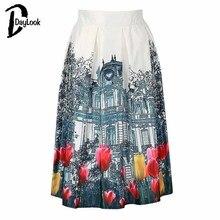 29c36c5322 DayLook 2018 verano estilo tulipán imprimir alta cintura plisado patinador  A-line falda mujer elegante Vintage negro y blanco ju.