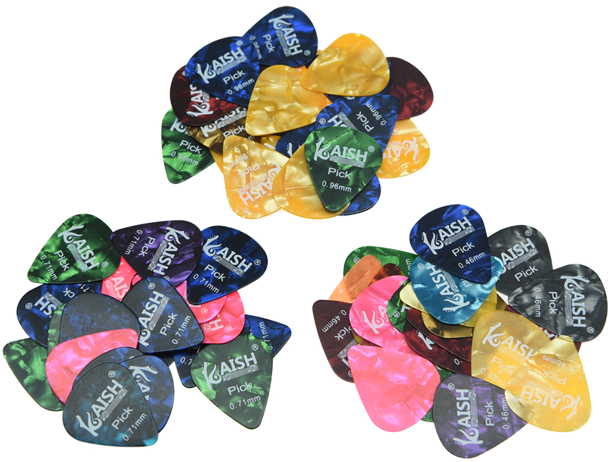 KAISH 60pcs Smooth Acoustic Electric Guitar Pick Picks Mixed Thickness Celluloid Plectrum Plectrums