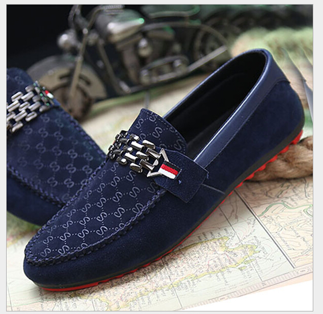 Spring Autumn Men Black Loafer Shoes Trendy Nubuck Leather Slip-on Loafers Vintage Style Men Driving Casual Blue Flat Shoes K02