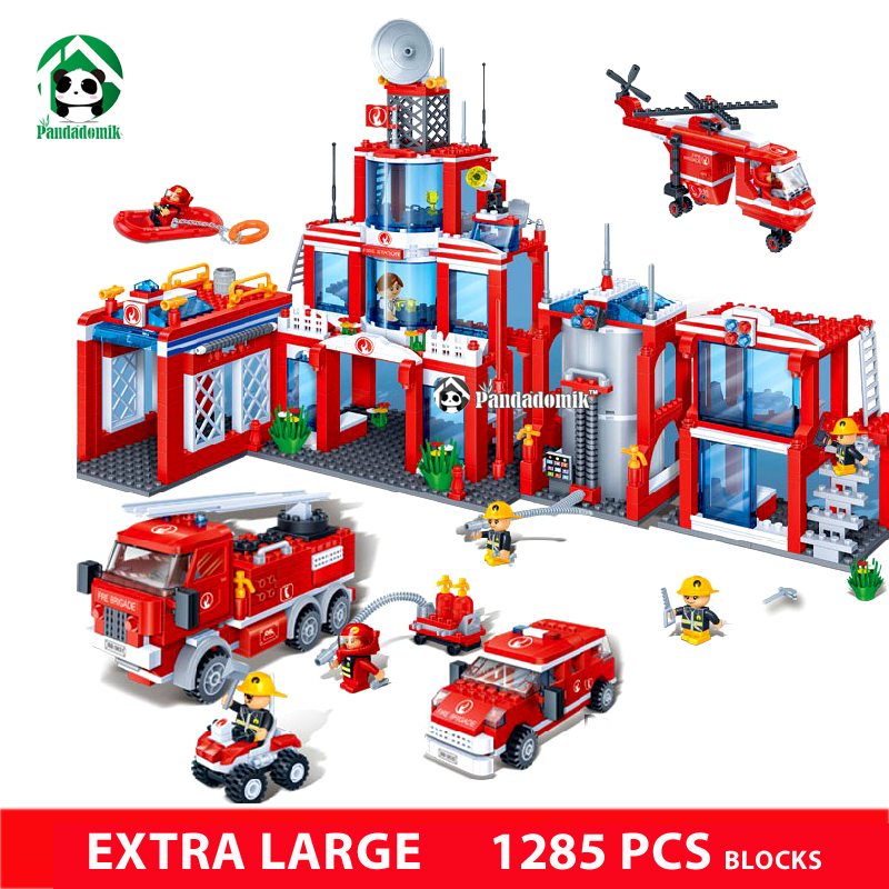 ФОТО Extra Large Fire Station 1285Pcs Building Blocks City Car Helicopter Educational Toys Kids Blocks Compatible with lego Bricks