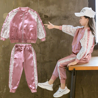 2019 Toddler Girl Clothes Set Spring Sports Suit Lace Outwear + Pant 2pcs Boutique Kids Clothing Big Girls Tracksuit 7 8 9 10 12