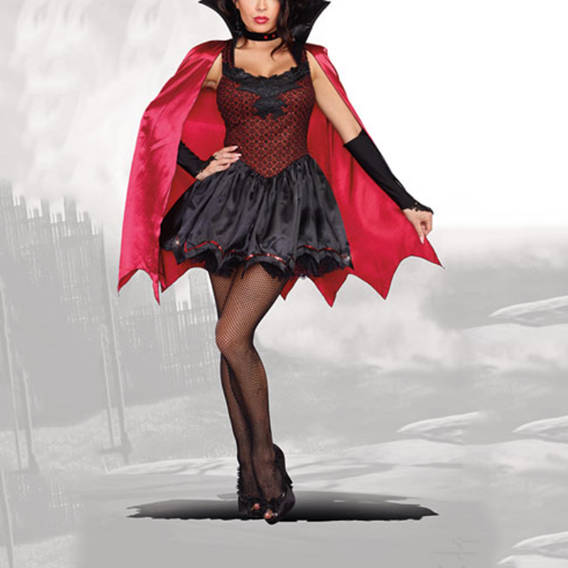 VASHEJIANG Fairy Tales Little Red Riding Hood Costume Long Red Cap queen Uniform Sexy Halloween Vampire Costumes For Women