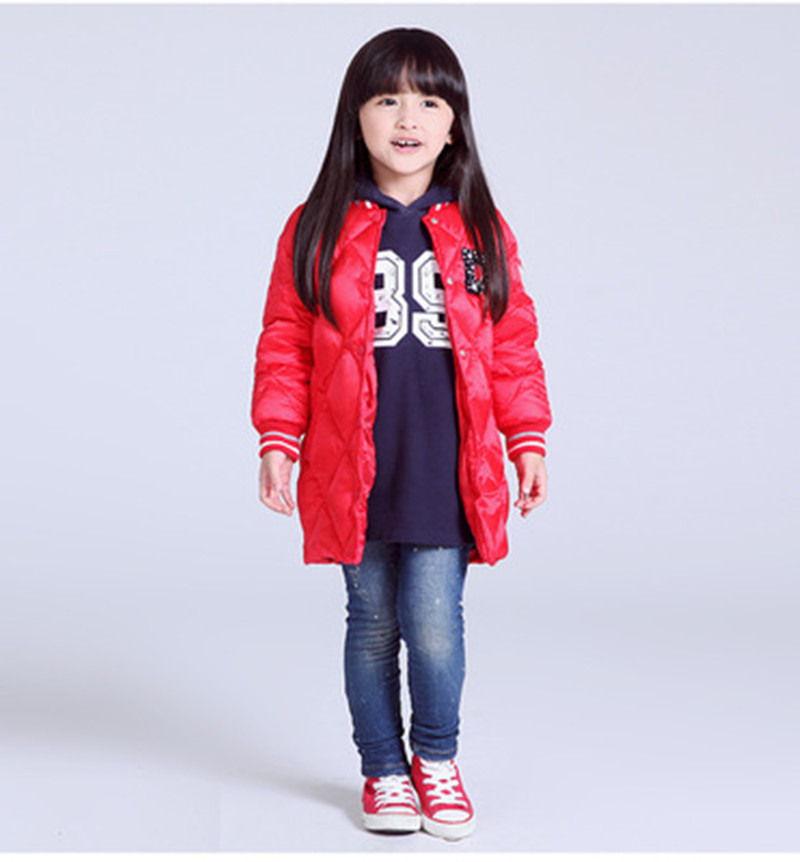 High Quality Girls Down Parka Long White Duck Down Coats Kids Baseball Clothing Style Black Red Goose Down Jackets Children Sale high quality children down coats 2017
