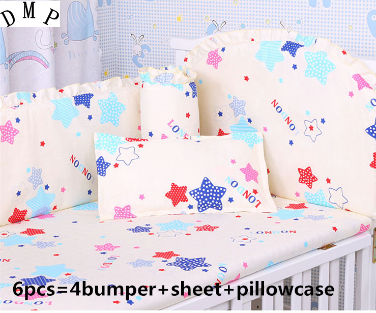 Promotion! 6pcs Cartoon baby bedding set baby cot crib bedding set cartoon ,include (bumper+sheet+pillow cover) promotion 6pcs cartoon newborn cot crib bedding set baby cot sets baby bed bumper set include bumper sheet pillow cover