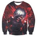 Unisex 3D Tokyo Ghoul Hoodies Animation Cartoon Sasuke Ninja Ken Kaneki Print Tee shirts Long Sleeve Character Anime Sweatshirts