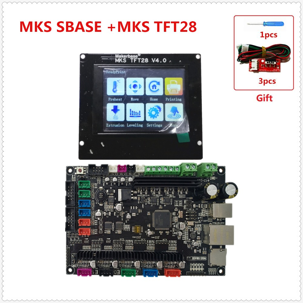 MKS SBASE + MKS TFT28 V4.0 pantalla TFT a todo color 3D impresora kit controlador ARM Cortex todo en uno smoothieboard para Smoothieware