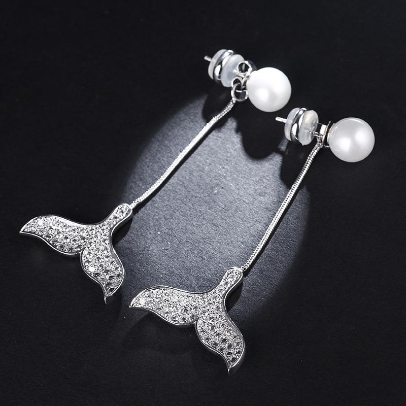 Cubic Zircon Fishtail Long Earrings