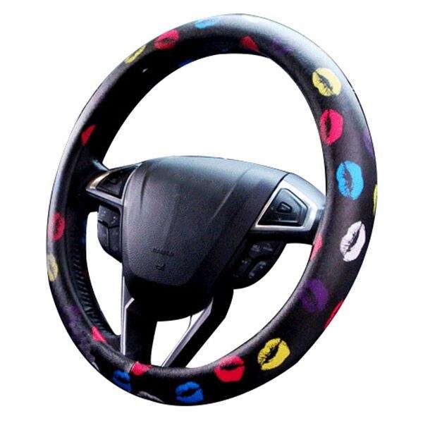 Lips Car Steering Wheel Cover Wrap Car Interior Trim,Advanced Cute,Black